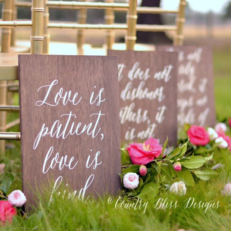 Love Is Patient Aisle Signs Look Beautiful For Weddings