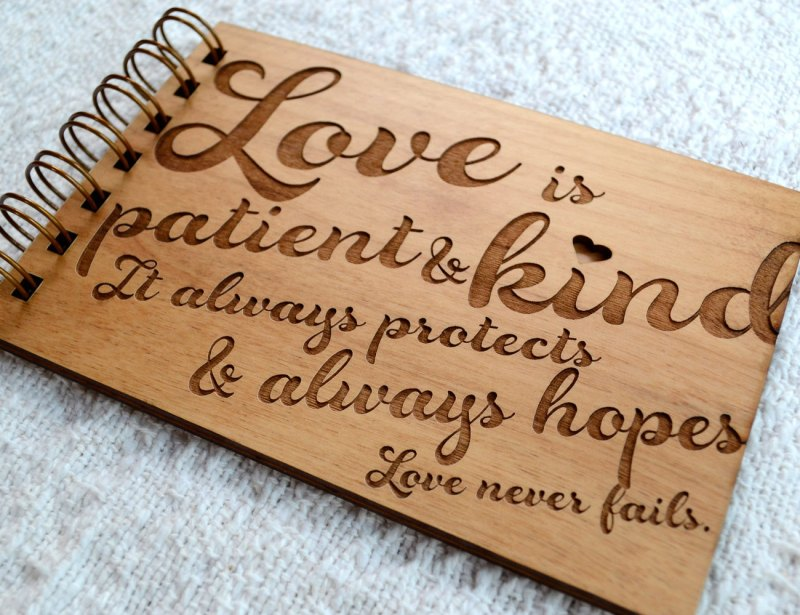 love never fails engraved wood guest book by figs and ginger