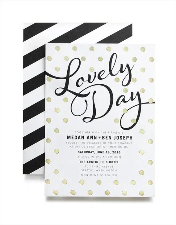 Lovely Day foil invitation - Wedding Stationery Trends 2014 via EmmalineBride.com