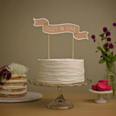 lucky in love wedding cake banner