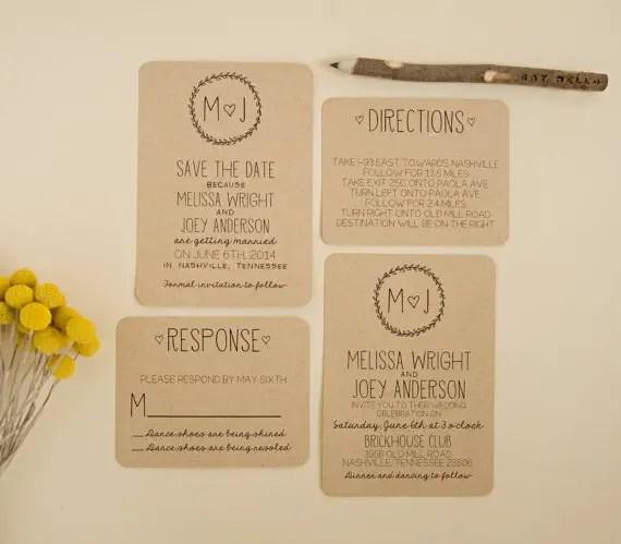 m loves j sketch kraft paper invitation