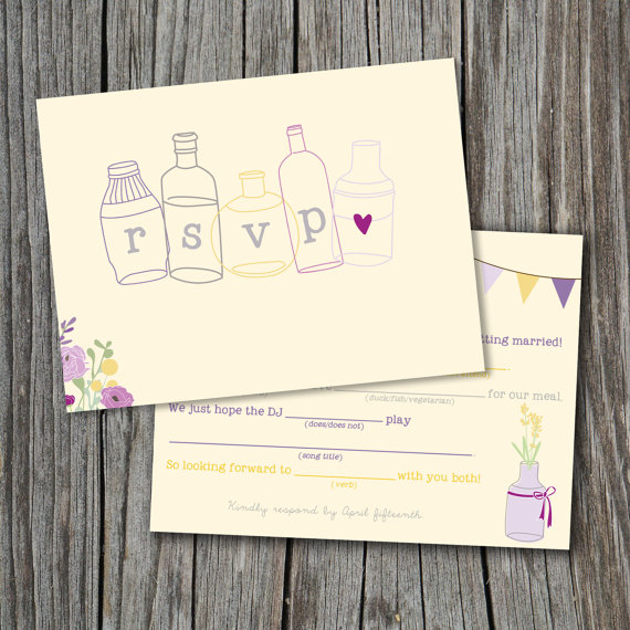 Mad Lib Wedding RSVP Mad Libs Card (by Splash Of Silver) #handmade #wedding