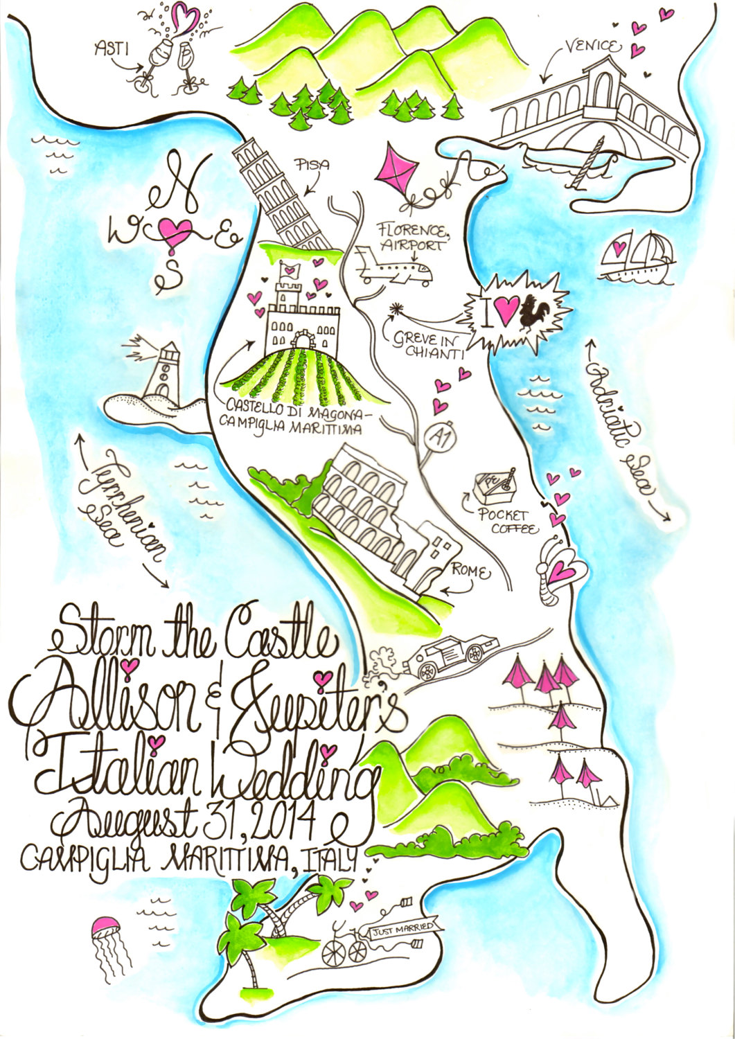 wedding map for guests via http://emmalinebride.com/planning/wedding-map-for-guests/