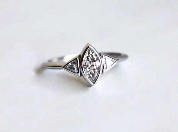marquise diamond engagement ring | Best Engagement Rings Etsy | via http://emmalinebride.com/jewelry/40-best-handmade-rings-ever/