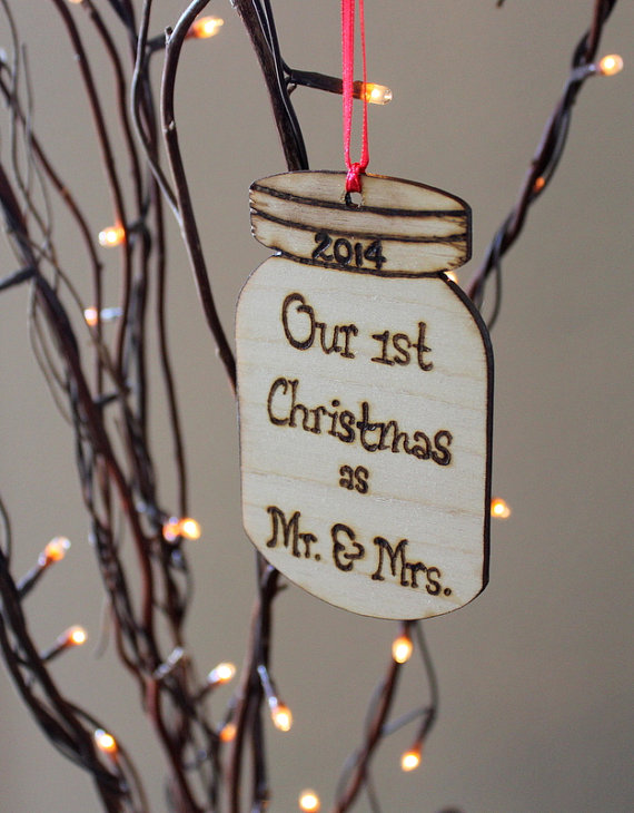 mason jar ornament by OurSweetHomeAlabama via 50+ First Christmas Ornaments Engaged / Married