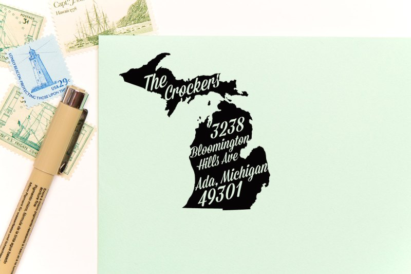michigan return address stamp | return address stamps etsy