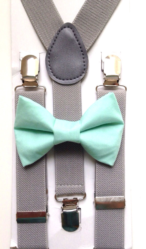 mint and grey bowtie set