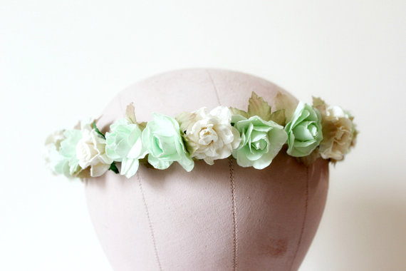 mint floral wreath