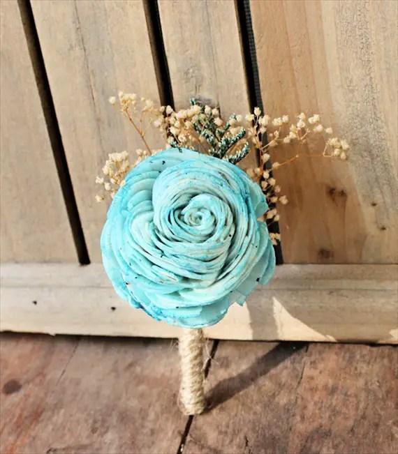 mint sola flower rustic wedding boutonniere