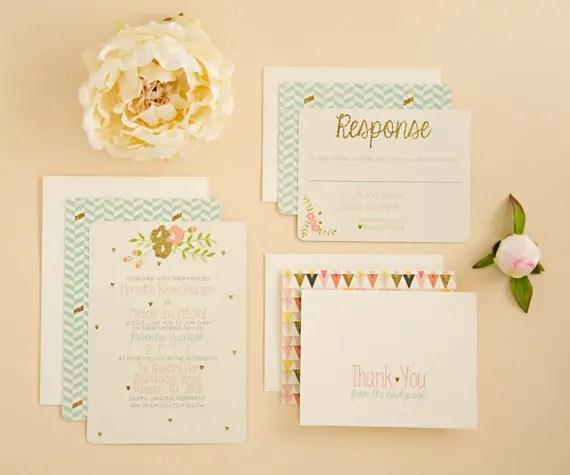 modern chic chevron and glitter wedding invitations via 8 Whimsical Wedding Invitations