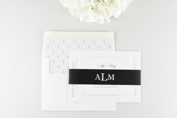 modern classic wedding invitations with monogram belly band