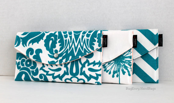 Modern Teal Mismatched Clutches - pick a purse each bridesmaid will love in a particular color with her own unique pattern or print.