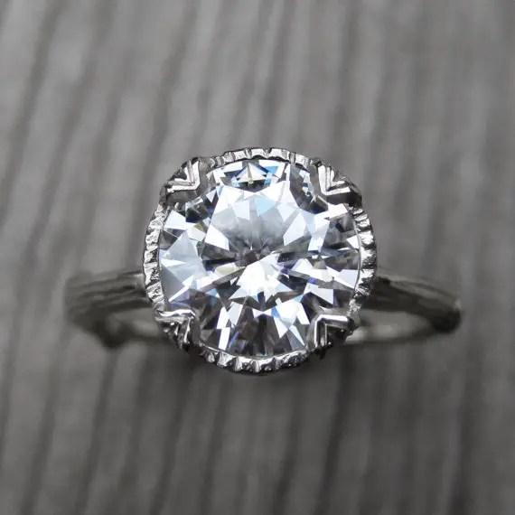 moissanite branch engagement ring | Engagement Rings Etsy | via http://emmalinebride.com/jewelry/40-best-handmade-rings-ever/ 