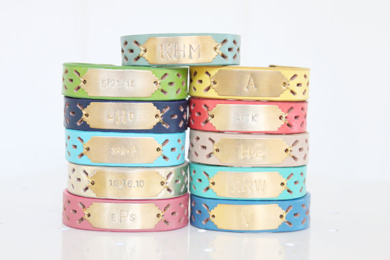 monogram leather bracelet
