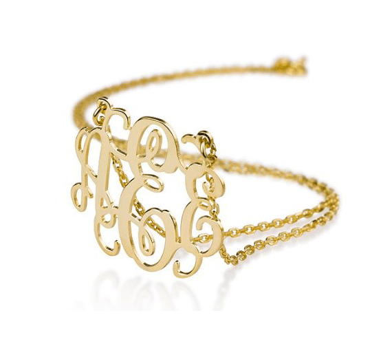 20 Valentines Day Gift Ideas - monogram necklace gold