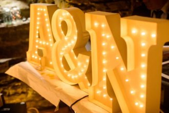 monogram with ampersand wedding marquee lights