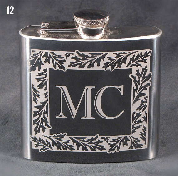 monogrammed flask for the groom