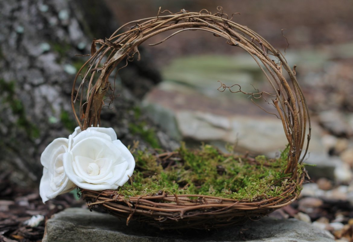 moss and branch flower girl basket | Rustic Flower Girl Baskets