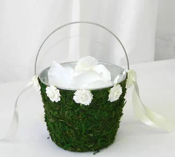 moss wedding ideas - flower girl basket
