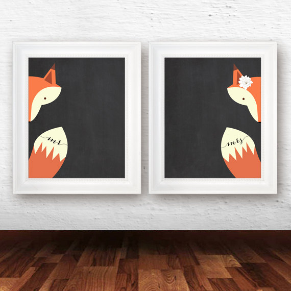 mr and mrs fox art by just a bird printables