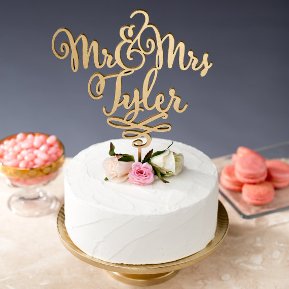 mr and mrs tyler cake topper
