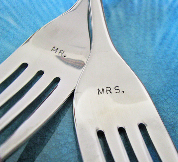 mr + mrs wedding forks by juliethefish designs | Cake Tips Weddings | Cake Cutting Tips Every Bride Should Know - http://emmalinebride.com/reception/cake-tips-weddings/