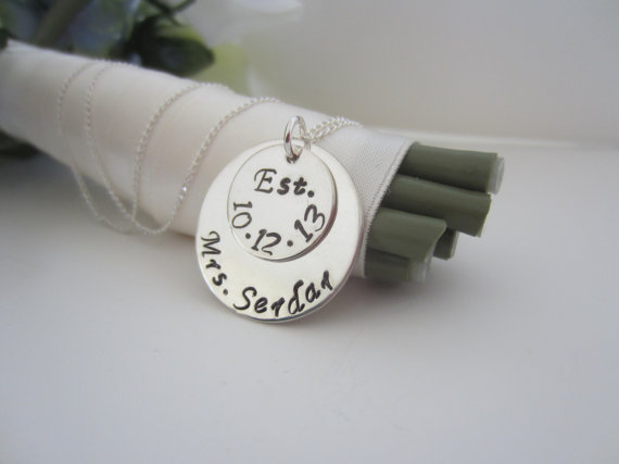handmade wedding mrs. necklace (ellen b. keepsakes) via The Marketplace at EmmalineBride.com