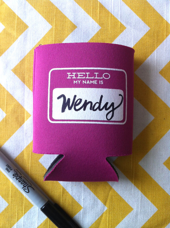 Drink Koozie Wedding Favors (+ Name Tag)
