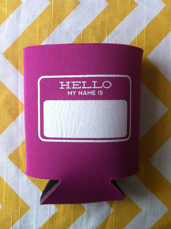 Drink Koozie Wedding Favors + Name Tag | Emmaline Bride