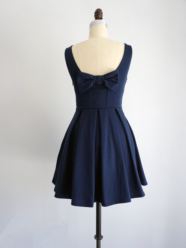 navy blue dress by shop apricity | bridesmaid dresses bow on back