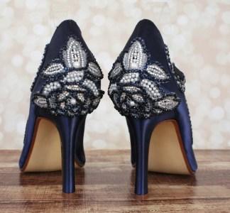 navy blue jeweled wedding shoes