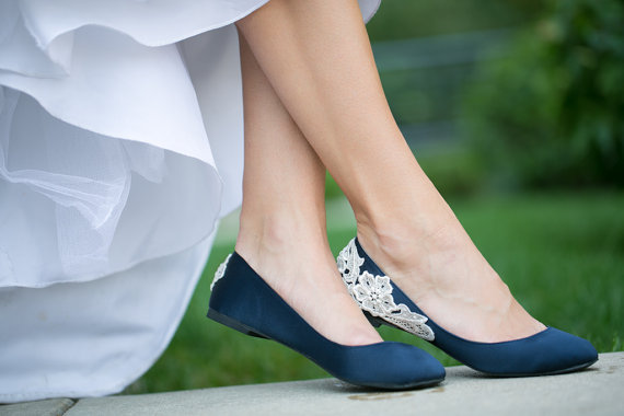 navy wedding flats with lace
