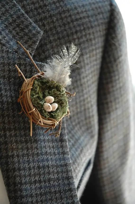 nest boutonniere (by White Tulip Boutique) - 21 Unique Alternative Boutonniere Ideas