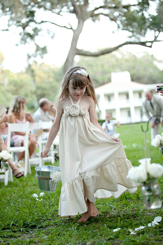 Eco Wedding Ideas - organic flower girl dress by olive and fern, photo by kali norton