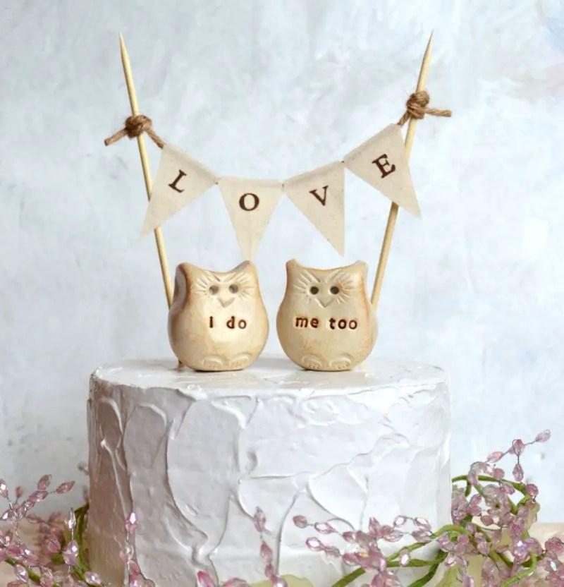 owl love cake topper