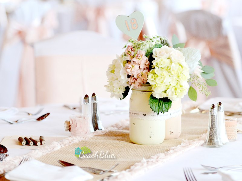 painted shabby chic mason jar centerpieces