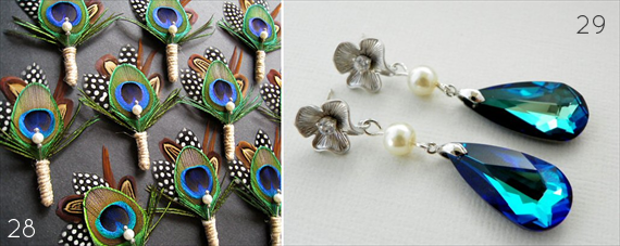 Peacock Boutonniere for the Groom / Peacock Blue Earrings for the Bride