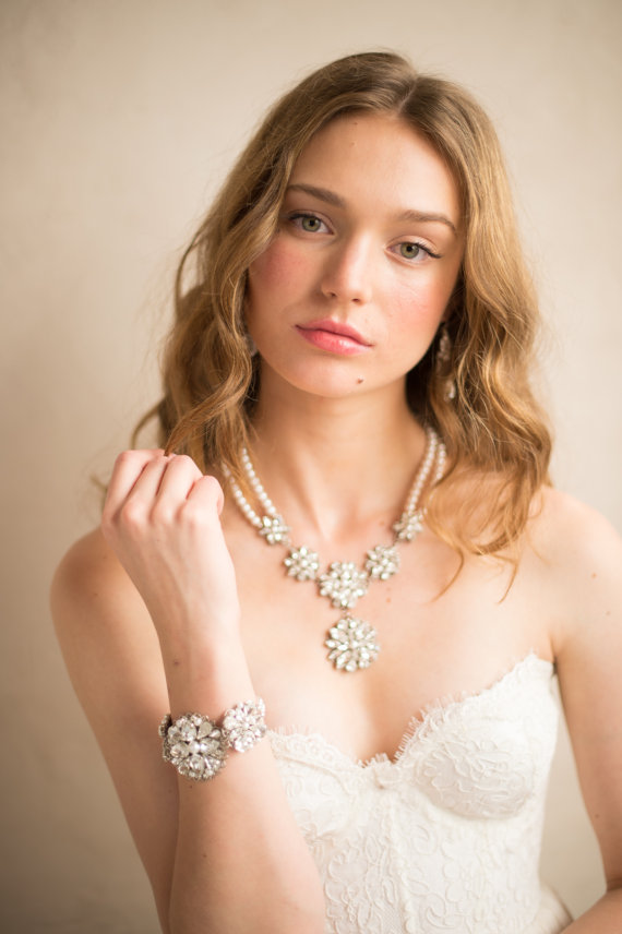 pearl and rhinestone layered necklace