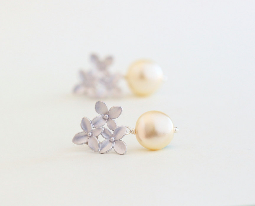 pearl and silver bouquet earrings by jacaranda designs