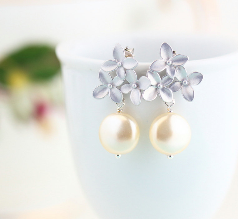 pearl and silver bouquet earrings