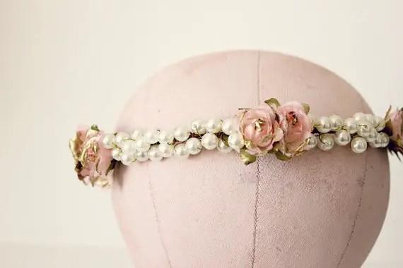 pearls and flower hair crown