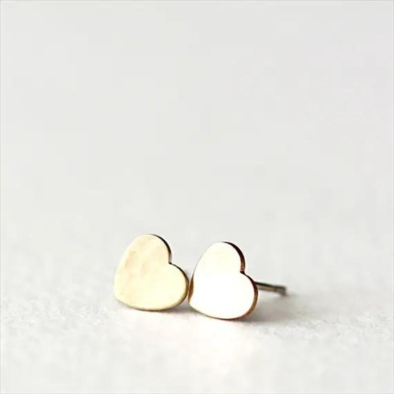 petite heart earrings gold