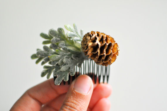 pinecone hair comb - winter wedding accessories