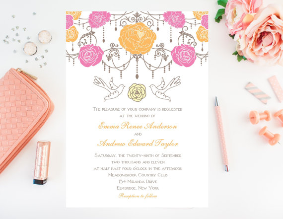 pink and yellow floral wedding invitations