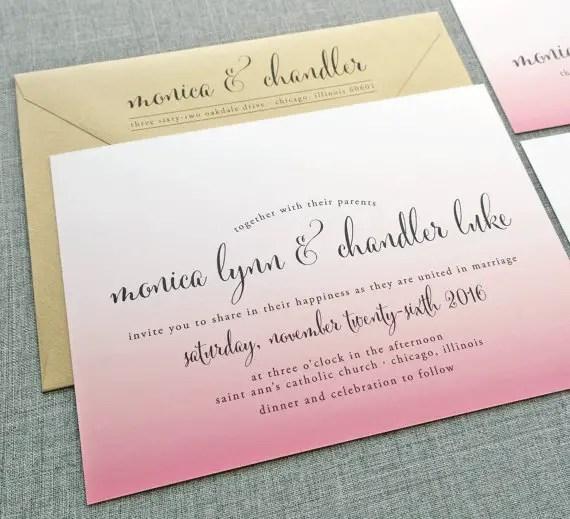 pink ombre wedding invitation - wedding invitation credit + robe giveaway