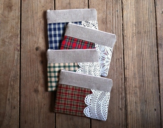 plaid clutch purse - bridesmaid clutch for fall weddings   by Juneberry Stitches