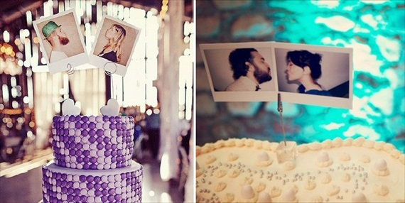 Polaroids at Weddings - polaroid cake topper