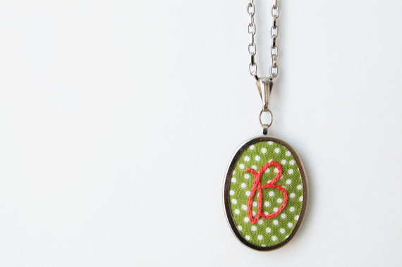 embroidered wedding ideas: embroidered initial necklaces (by the merriweather council)