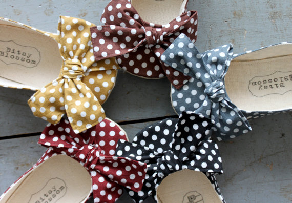 polka dotted flower girl shoes various colors