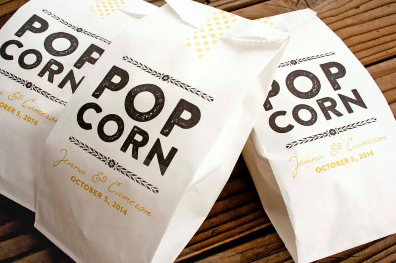 popcorn favors weddings - bags by Mavora Art and Design | via http://emmalinebride.com/planning/popcorn-favor-weddings/